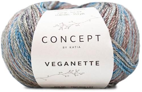 Veganette Umschlagtuch Strickpaket 1 Wine Red / Stone Grey / Blue