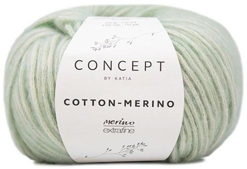 Cotton-Merino Fischgrätmuster Pullover Strickpaket 1 Green water 50/52