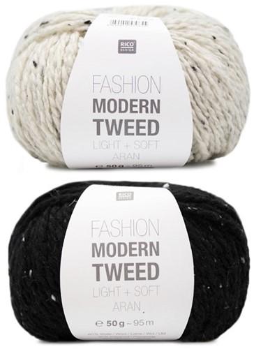 Fashion Modern Tweed Streifenpullover Strickpaket 1 44/46 Creme / Black