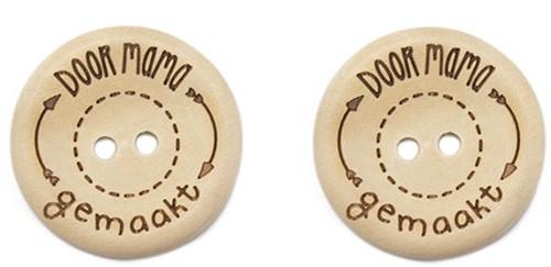 Durable Houten Knopen Door Mama Gemaakt 30mm 2 stuks