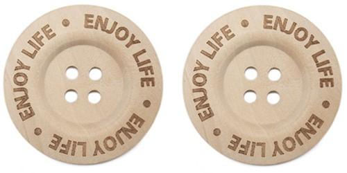 Durable Knopf Holz Enjoy Life 40mm 2 Stück