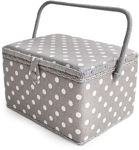 Nähkorb Grey Linen Polka Dot Large