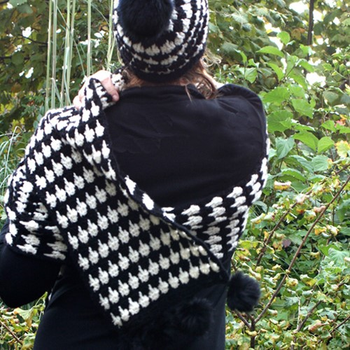 Häkelanleitung Pied-de-poule Schal und Mütze