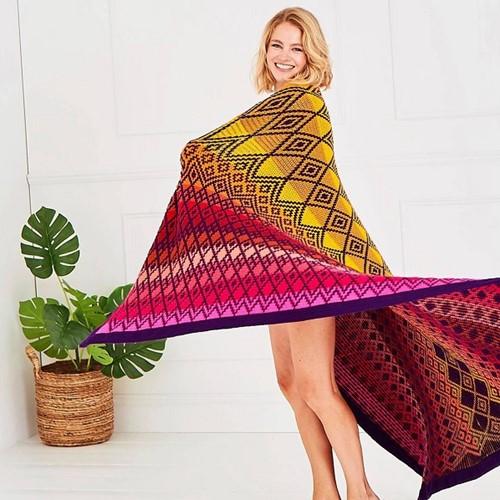 Queen Blanket (groß) CAL Garnpaket 2 Tequila Sunrise