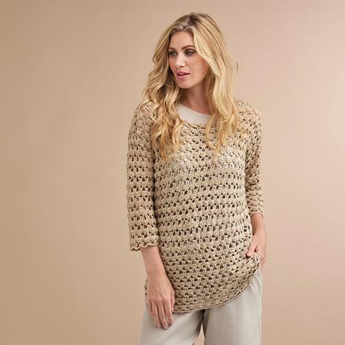 Soft Linen Mix Malou Summer Sweater Crochet Kit 48/50