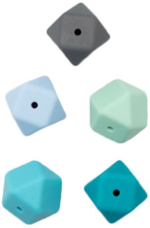 Durable Silikon Hexagonperlen 5 Stück Blau