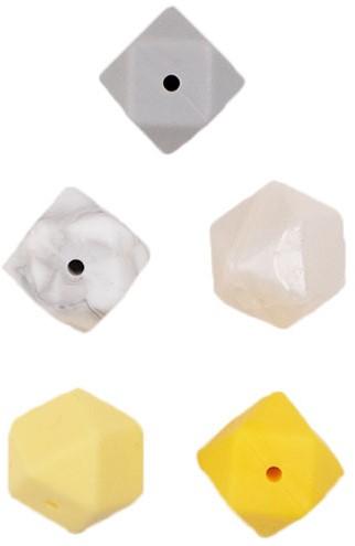Durable Silikon Hexagonperlen 5 Stück Gelb