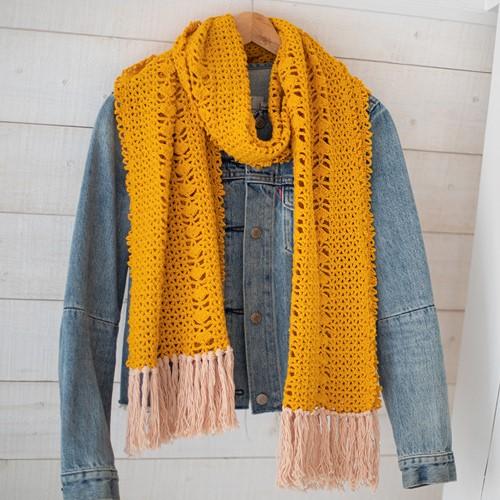 Organic Cotton Schal Häkelpaket 1 Cosy yellow