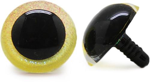 Plastik Sicherheitsaugen Sparkle Gelb (2 Stück) 24mm