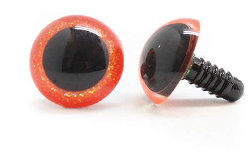 Plastik Sicherheitsaugen Sparkle Orange (2 Stück) 15mm