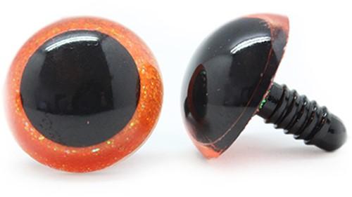 Plastik Sicherheitsaugen Sparkle Orange (2 Stück) 24mm