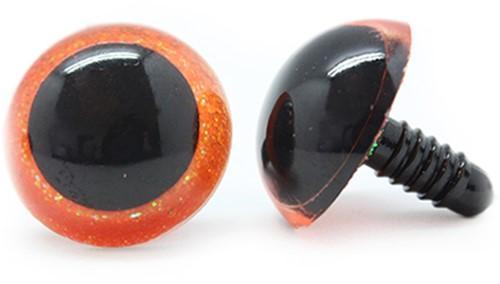 Plastik Sicherheitsaugen Sparkle Orange (2 Stück) 30mm