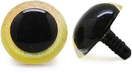 Plastik-Sicherheitsaugen Sparkle gelb 21mm