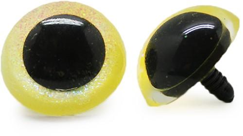 Plastik Sicherheitsaugen Sparkle Gelb (2 Stück) 30mm