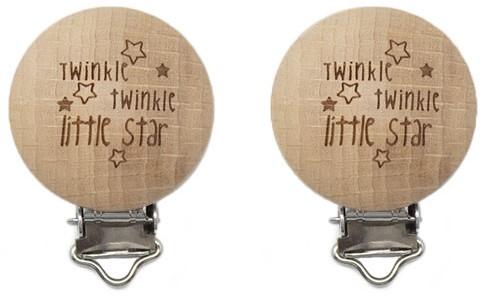 Durable Schnullerclips Holz 2 Stück 61 Twinkle Twinkle Little Star