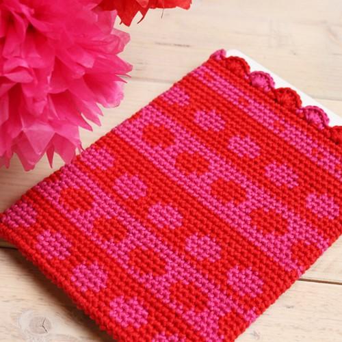 Häkelanleitung Tablethülle in Tapestry-Technik