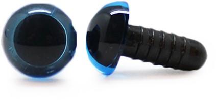 Sicherheitsaugen Transparent Blau (1 Stück) 15mm
