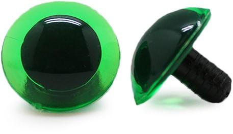 Sicherheitsaugen Transparent Grün (1 Stück) 20mm