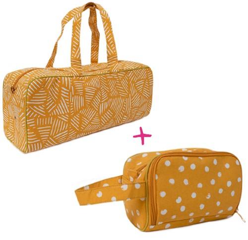 Wollplatz Stricktasche und Häkeletui Set 1 Mustard Stripes/Mustard Dots