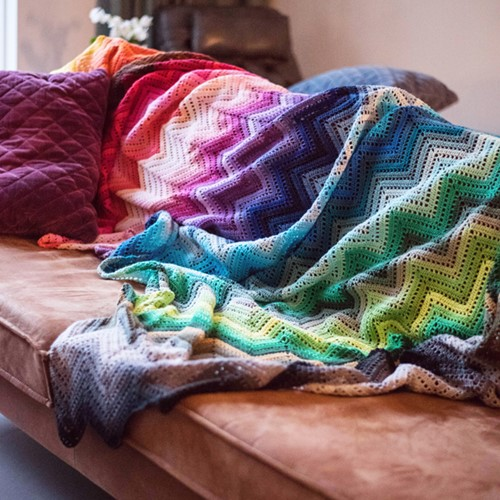 100 Farben Zickzack Decke Häkelpaket